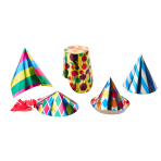 Party Cone Hats Multi-Coloured Assorted Paper Height 10.5 cm