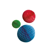 3 Honeycomb Decorations Bright Rainbow Paper 14 cm / 18 cm / 22 cm