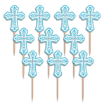 36 Picks Christening Day Blue Plastic 7.6 cm
