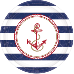 8 Plates Anchors Aweigh round paper 26,7 cm
