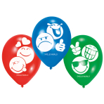 6 Latexballoons Smiley Emoticons 22,8 cm/9""