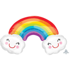 SuperShape Rainbow With CloudsFoil Balloon, P35, packed, 93x55 cm