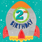 16 Napkins Blast Off Birthday 2nd Birthday 33 x 33 cm