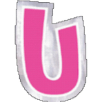 48 Stickers Letter U
