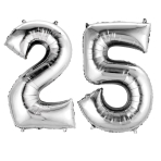 SuperShape Number Bunch 25 Silver Foil Balloon P75 Packaged 86cm