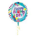 "Orbz ""Happy Birthday Streamers Burst"" Foil Balloon Clear, G20, packed, 38 x 40cm"