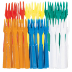 60 Plastic Cocktail Forks Assorted 8.4 cm