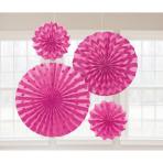 4 Fan Decorations Glitter Bright Pink Paper 20.3 cm / 30.4 cm / 40.6 cm