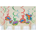 12 Swirl Decorations Prehistoric Party Foil / Paper 61 cm