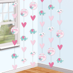 6 String Decoration Christening Pink