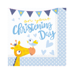 16 Lunch Napkins Christening Blue 33cm