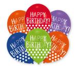 "6 Latex Balloons Happy Birthday - Dots 27.5 cm / 11"""