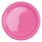 20 Plates Bright Pink Plastic Round 17.7 cm