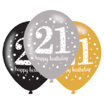 "6 Latex Balloons Age 21 Sparkling Birthday 27.5cm/11"""