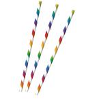 12 Drinking Straws Bright Rainbow Paper 19.7 cm