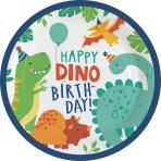 8 Plates Dino-Mite Round Paper 23 cm