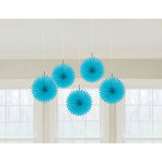 5 Fan Decorations Caribbean Blue Paper 15.2 cm