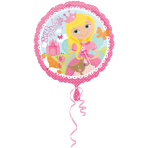 Standard Woodland Princess Happy Birthday Foil Balloon, round, S40, packed, 43 cm