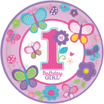 8 Plates Sweet Birthday Girl 23 cm
