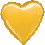 "Standard ""Metallic Gold"" Foil Balloon Heart, S15, packed, 43cm"