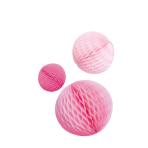 3 Honeycomb Decorations Hot Pink Paper 14 cm / 18 cm / 22 cm