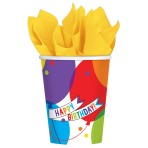 18 Cups Brilliant Balloons Paper 266 ml