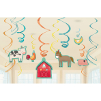 12 Swirl Decorations Barnyard Birthday Foil / Paper 61 cm