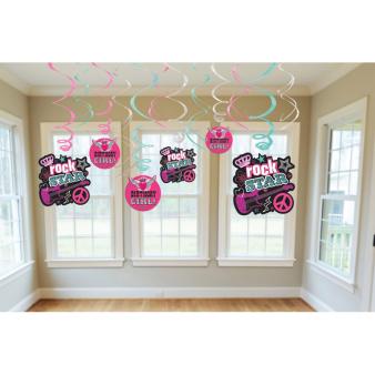 12 Swirl Decorations Rocker Girl