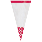 10 Party Bags Cone Shaped Polka Dot Apple Red Plastic 27.2 x 8.8 cm