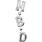 "SuperShape ""Phrase ""HBD"" Silver Vertical"" Foil Balloon, P35, packed, 17 x 81cm"