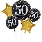 "Bouquet ""Sparkling Birthday 50"" 5 Foil Balloons, P75, packed"