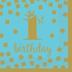 16 Napkins 1st Birthday Blue & Gold 25 x 25 cm