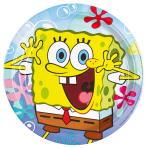 8 Plates SpongeBob Paper Round 22.8 cm