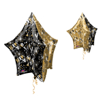 UltraShape Gold & Black Star Foil Balloon P45 Packaged
