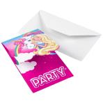 8 Invitations & Envelopes Barbie - Dreamtopia Paper 8.2 x 14 cm