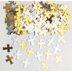 Confetti Crosses Gold / Silver Metallic Foil 14 g
