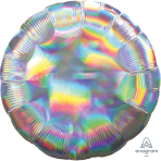 Standard Holographic Iridescent Silver Circle Foil Balloon S55 Packaged