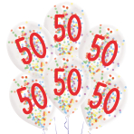 "6 Latex Balloons Droplets 50 Confetti Birthday 1C Confetti Filled Paper 27.5 cm / 11"""