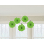 5 Paper Fan Decorations Green 15.2 cm