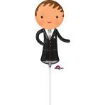 "Mini Shape ""Handsome Groom"" Foil Balloon, A30, airfilled, 15 x 33 cm"