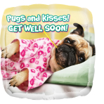"Standard ""Avanti Get Well Pugs & Kisses"" Foil Balloon Round , S60, packed,"