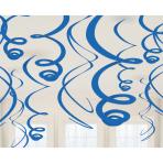 12 Swirl Decorations Bright Royal Blue Foil 55.8 cm