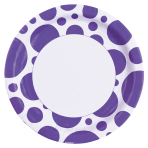 8 Plates New Purple Dots Paper Round 22.8 cm