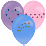 3 Latex Balloons Assorted 27.5 cm with Diamond Stickers Paper