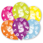 6 Latex Balloons All Round Printed Age 5 27.5 cm/11''