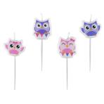 4 Mini Figurine Candles Happy Owl