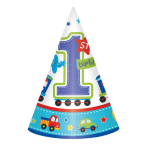 8 Party Cone Hats All Aboard Birthday 16 cm