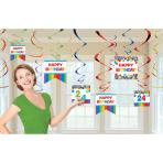12 Swirl Decorations Birthday Accessories - Primary Rainbow Foil / Paper 61 cm