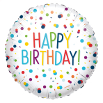 Standard EU Confetti Birthday Foil Balloon Circle S40 Packaged