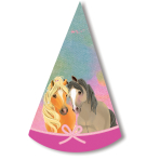 8 Pretty Pony Cone Hats Paper Height 16 cm